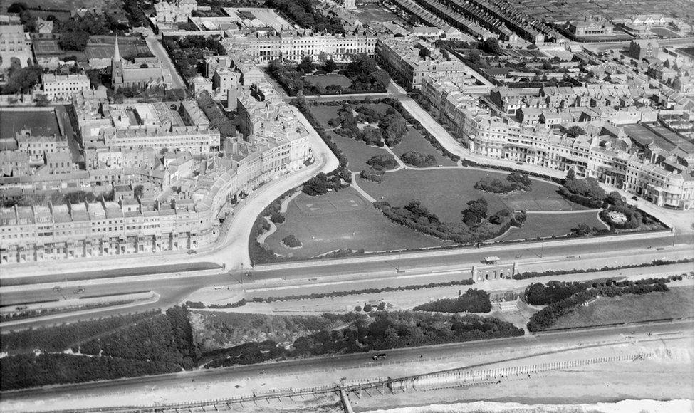 An aerial view of Kemptown, Brighton, taken in August 1926