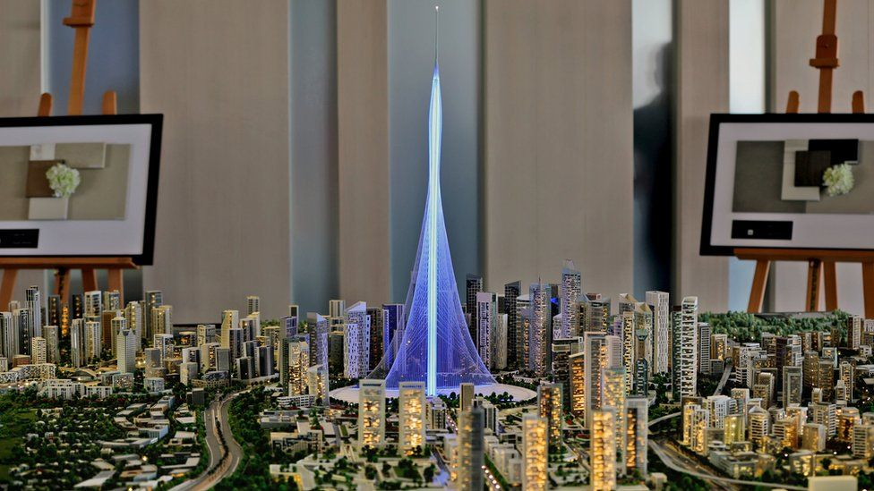 A model of the Tower Project at Dubai Creek Harbour Development designed by Spanish-Swiss architect Santiago Calatrava Valls