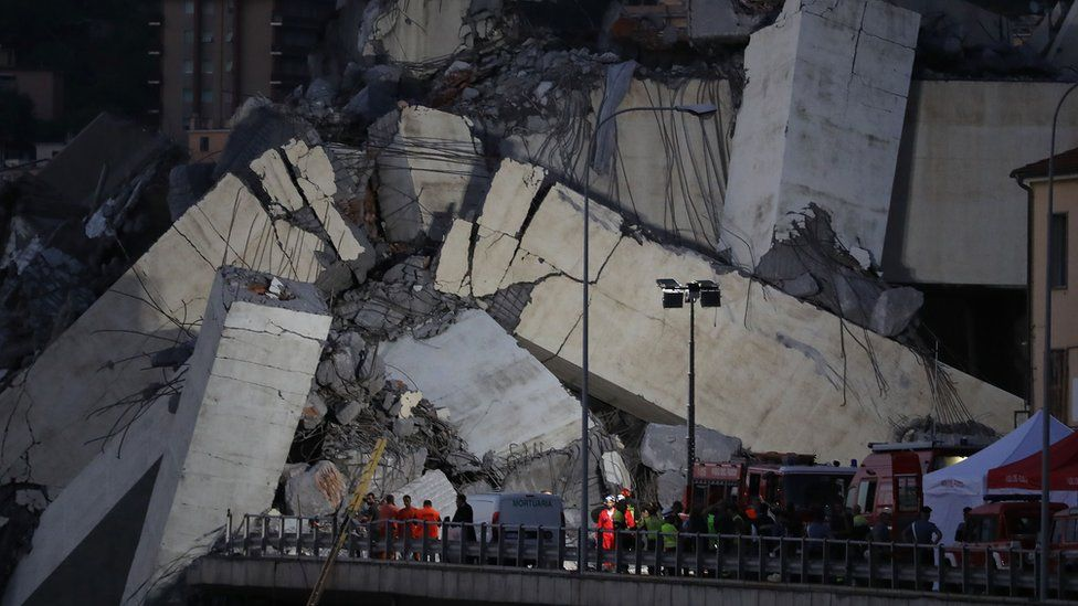 Rescuers search for survivors of the Genoa road bridge collapse August 2018