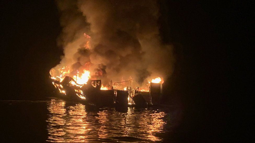 The boat in flames