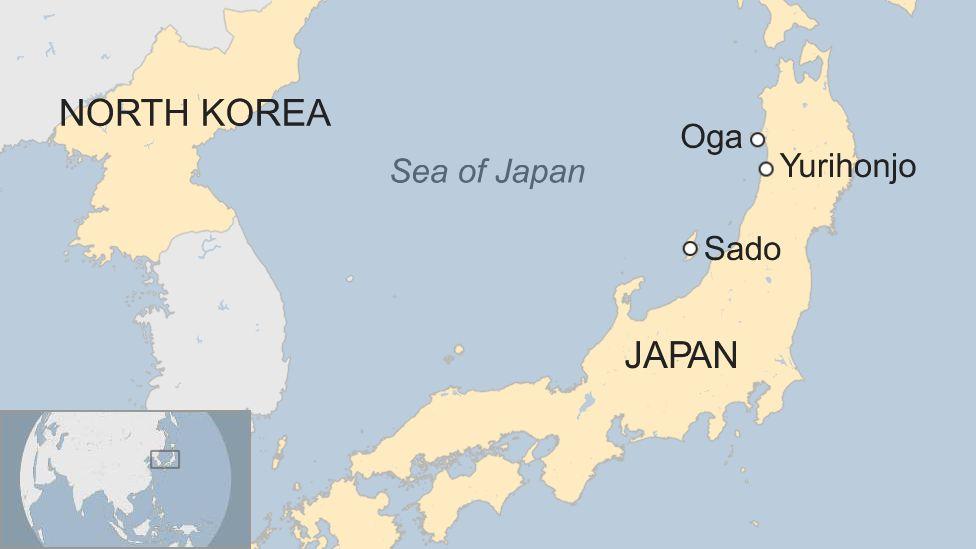 Map of Yurihonjo, Oga and Sado in Japan