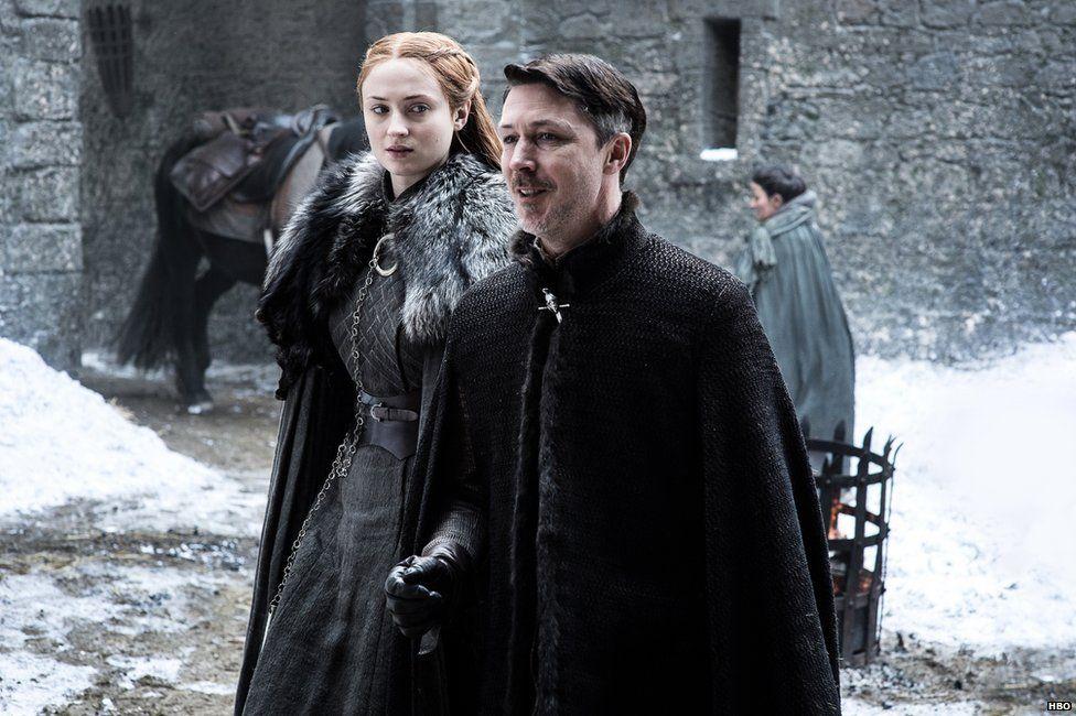 Aidan Gillen as Littlefinger and Sophie Turner as Sansa Stark