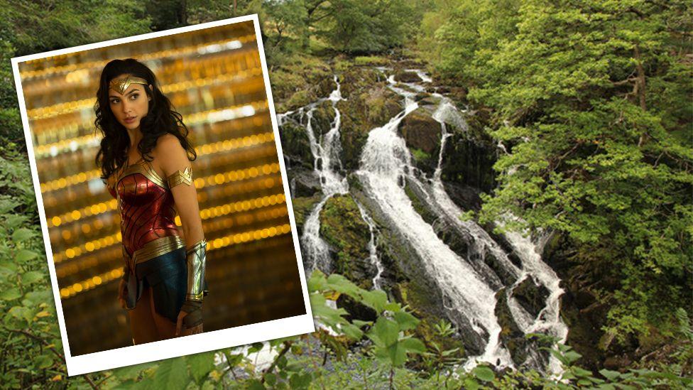 Film grab of Wonder Woman and Swallow Falls