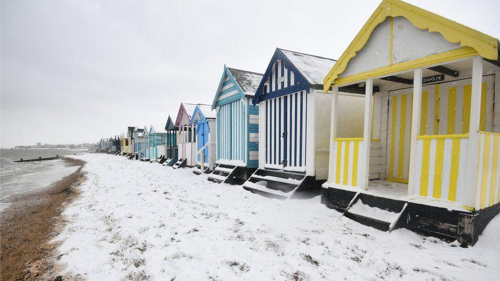 Snow on beach at Thorpe Bay, Essex