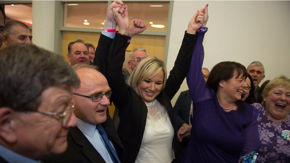 Sinn Féin's Michelle O'Neill celebrated the victories of Michelle Gildernew and Barry McElduff