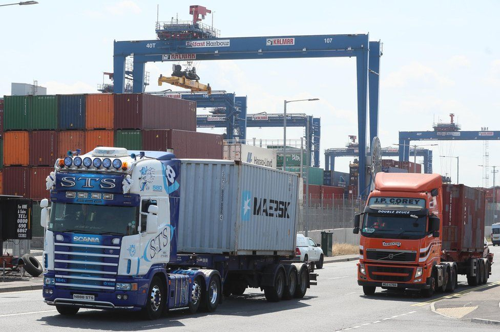 Lorries and shipping containers in Belfast Harbour