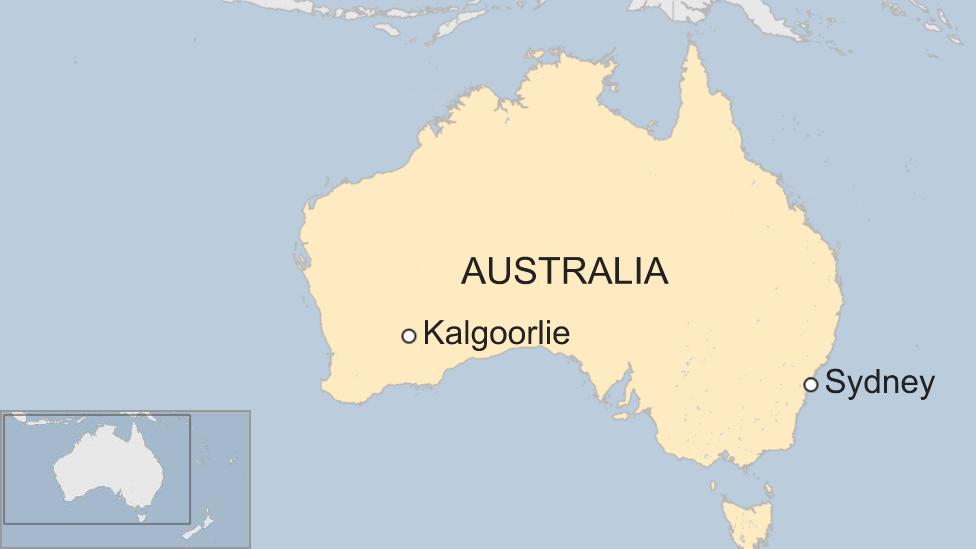 Map of Australia showing Kalgoorlie