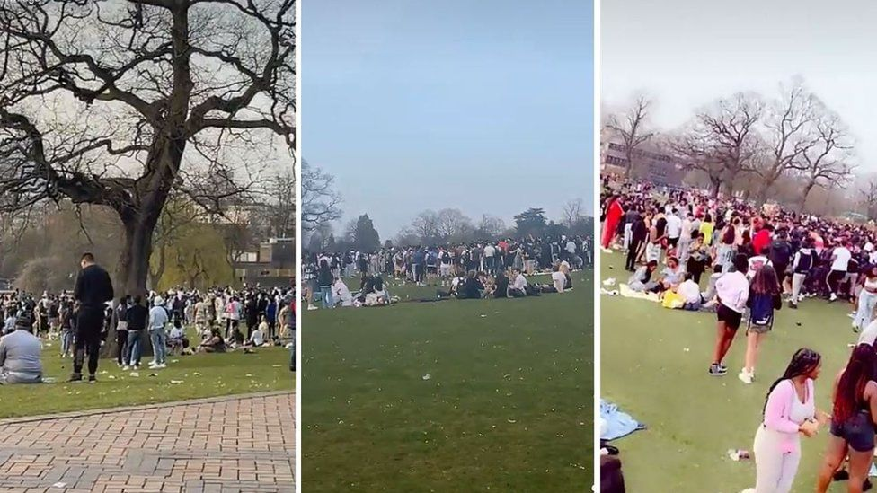 Photos of gatherings at Cannon Hill Park in Birmingham shared on social media