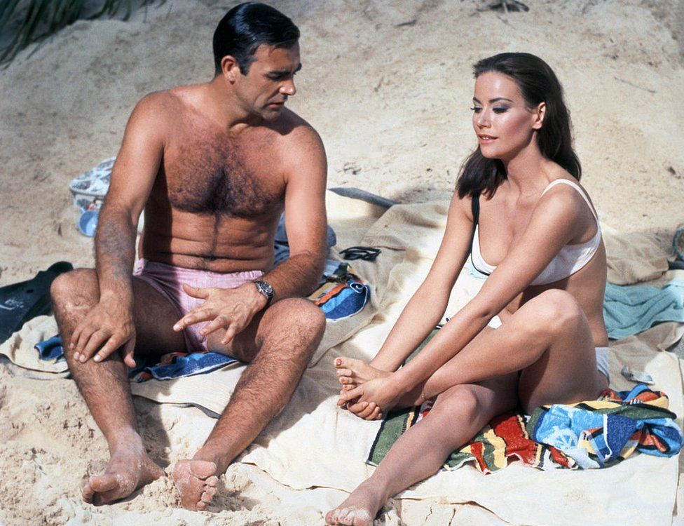 Claudine Auger and Sean Connery on the set of Thunderball