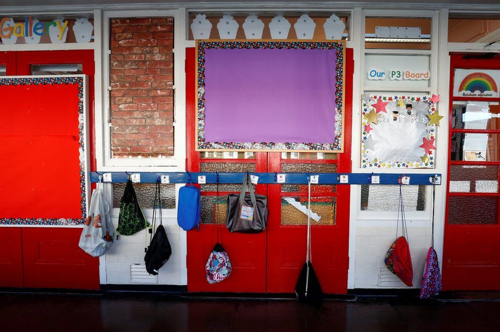 Schoolbags hanging on hooks is a school corridor