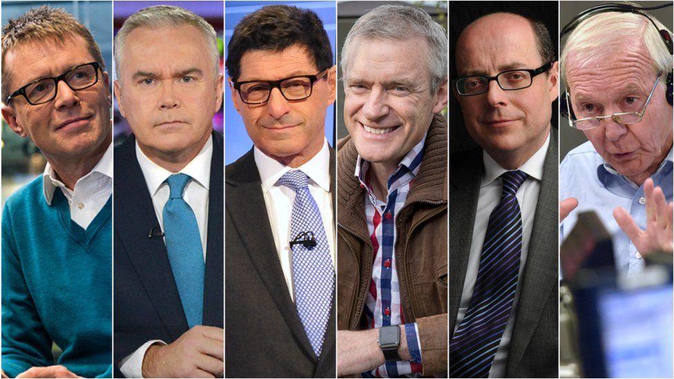 Left-right: Nicky Campbell, Huw Edwards, Jon Sopel, Jeremy Vine, Nick Robinson and John Humphrys