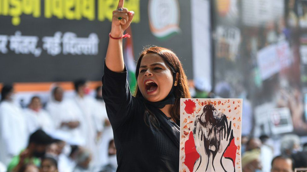 Woman protesting violence against women
