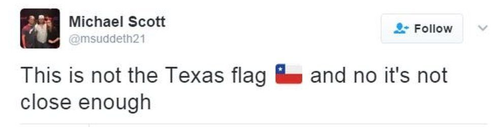 """Tweet saying, """"This is not the Texas flag, and not it's not close enough"""""""