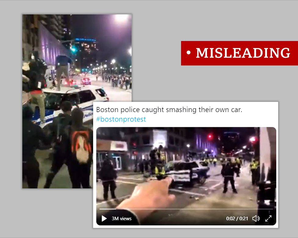 """Two screenshots from a video of a damaged police car during protests in Boston. One showing protesters jumping on the bonnet, the other surrounded by police officers. Labelled """"misleading"""""""
