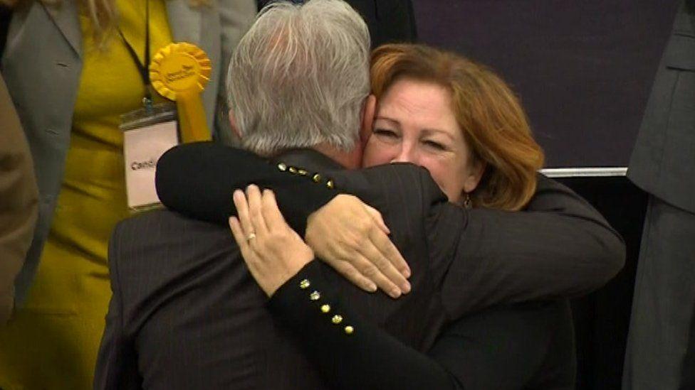 Lib Dem councillors hugging