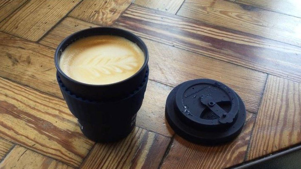 Coffee in a reusable cup