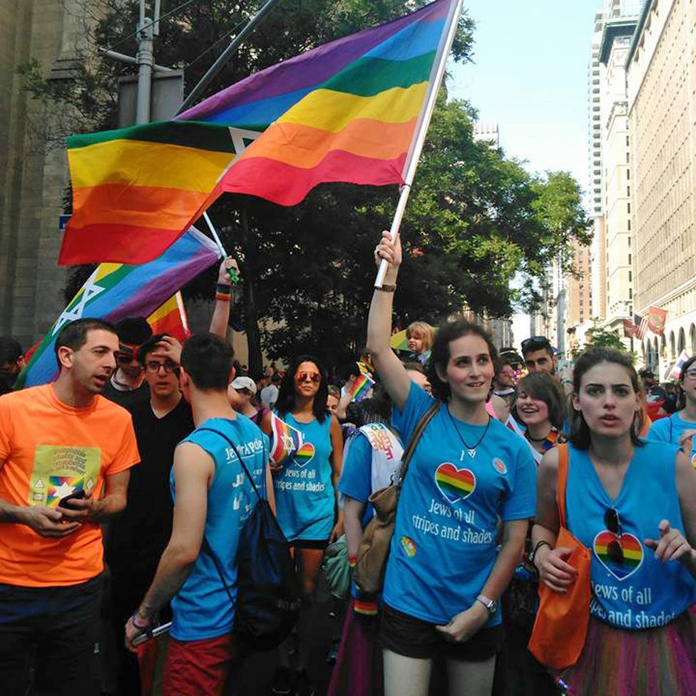Abby Stein at Pride with other members of a Jewish LGBT group