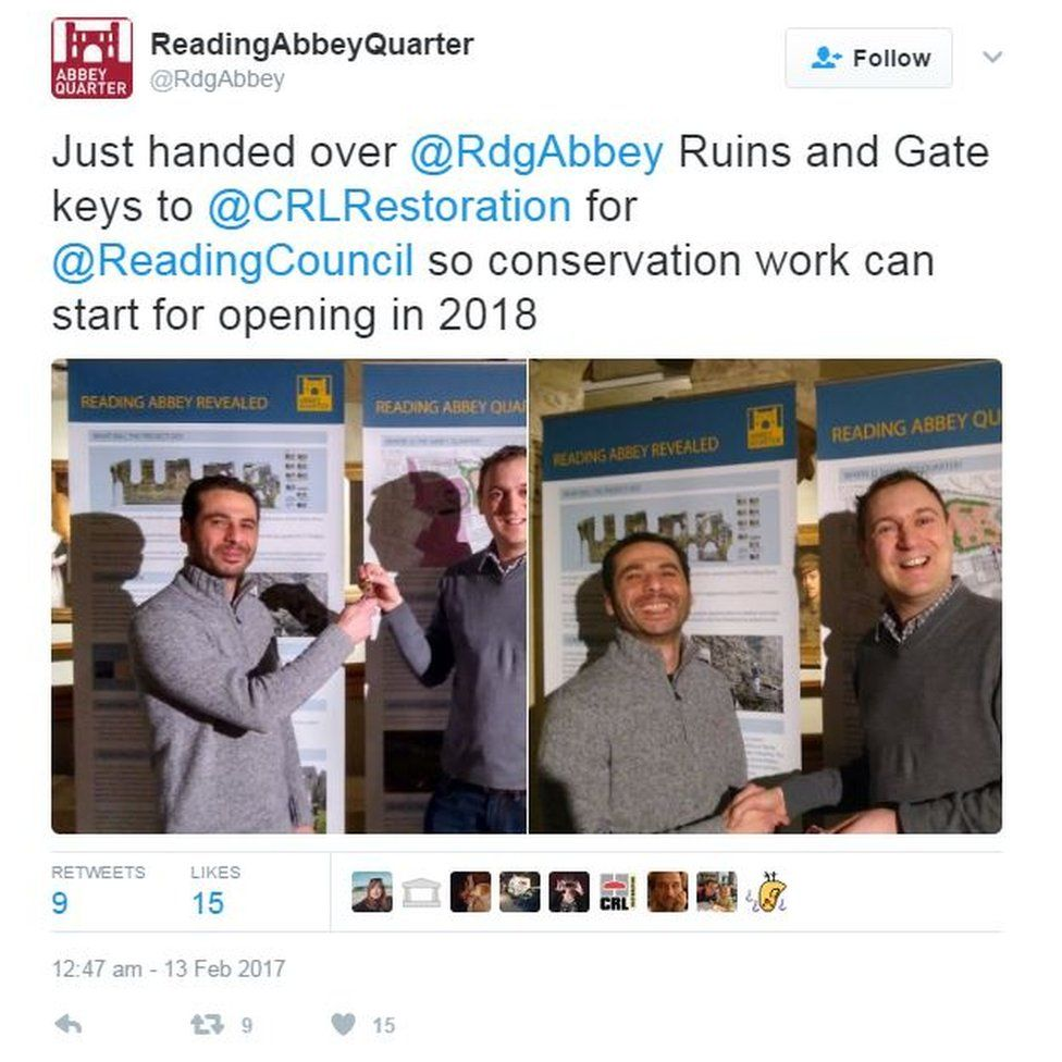 Reading Abbey Twitter announcement