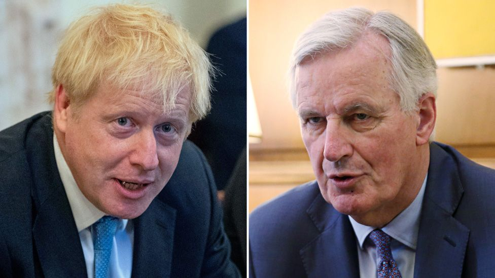 Boris Johnson, left, and Michel Barnier, right, are shown in this composite image