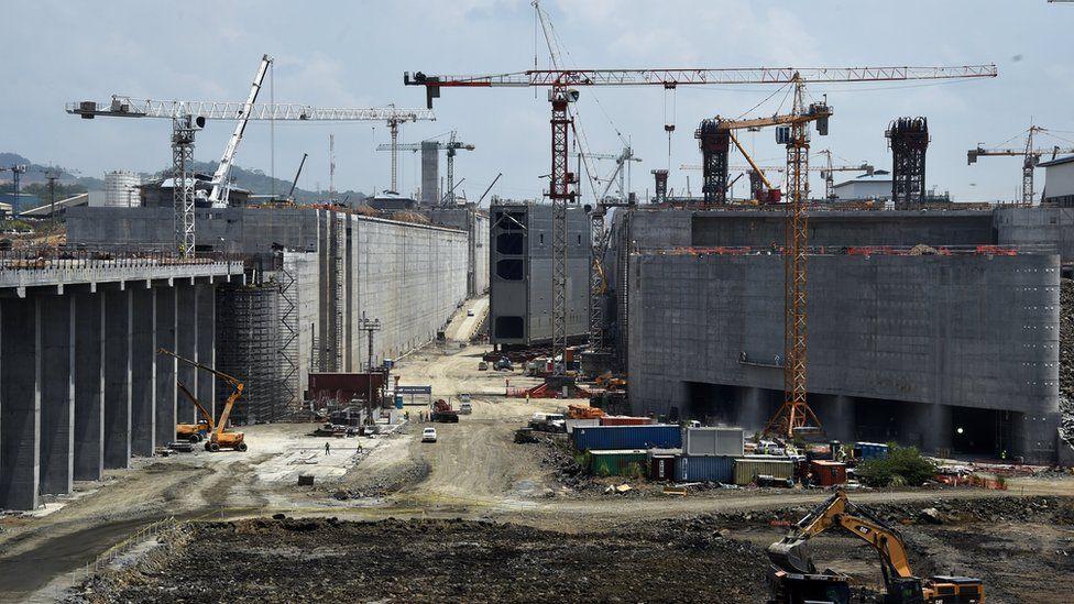 Panama Canal gates under construction
