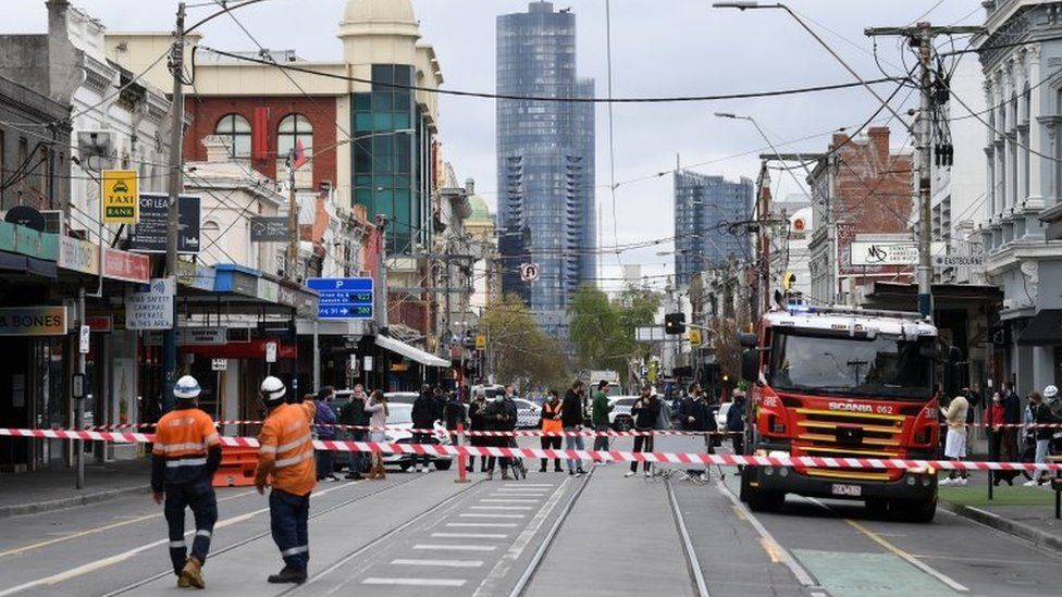 A cordoned-off street in Melbourne after the earthquake
