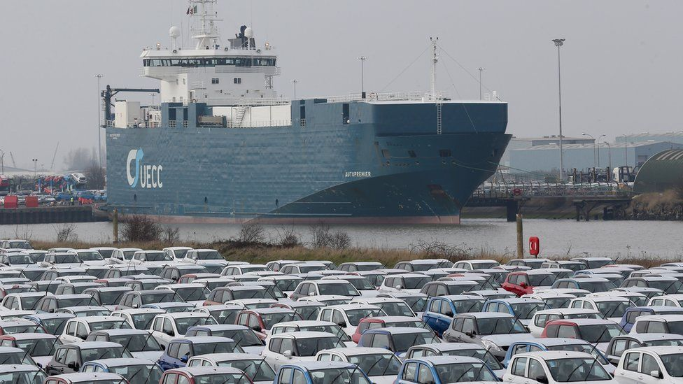 Line of new cars in Grimsby