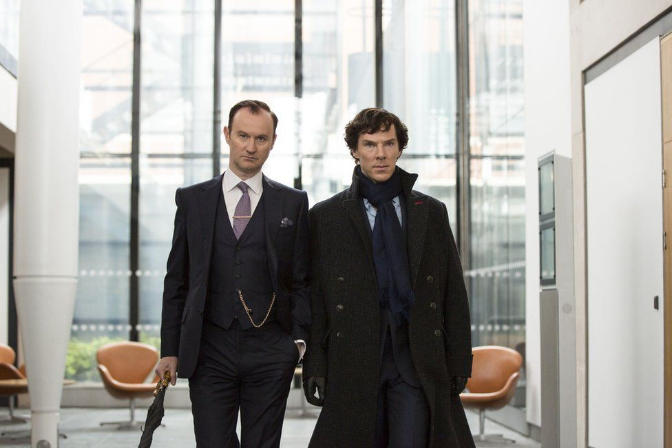 Mycroft and Sherlock Holmes, played by Mark Gatiss and Benedict Cumberbatch