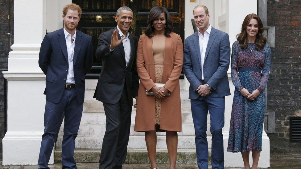 The Obamas with the Duke and Duchess of Cambridge and Prince Harry