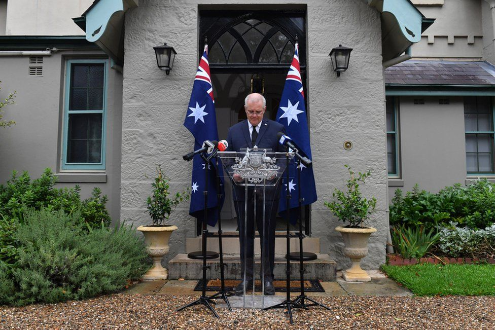 Australian Prime Minister Scott Morrison speaks to the media during a press conference following the death of Prince Philip, Duke of Edinburgh at Kirribilli House in Sydney, Australia, 10 April 2021.