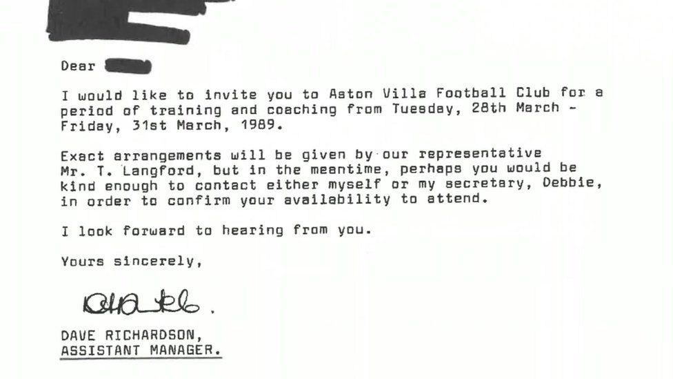 Letter from Aston Villa
