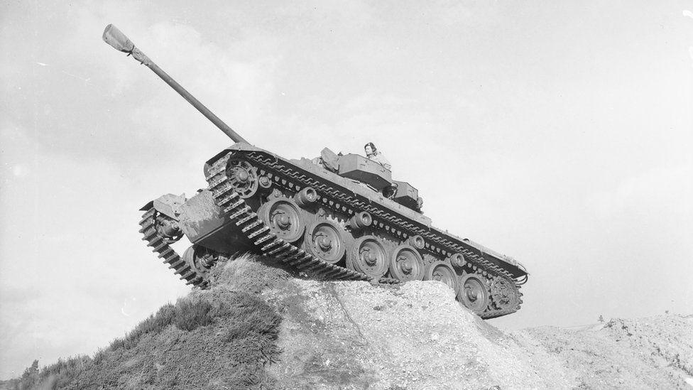 A Centurion tank perched on a rocky ridge during the Korean War
