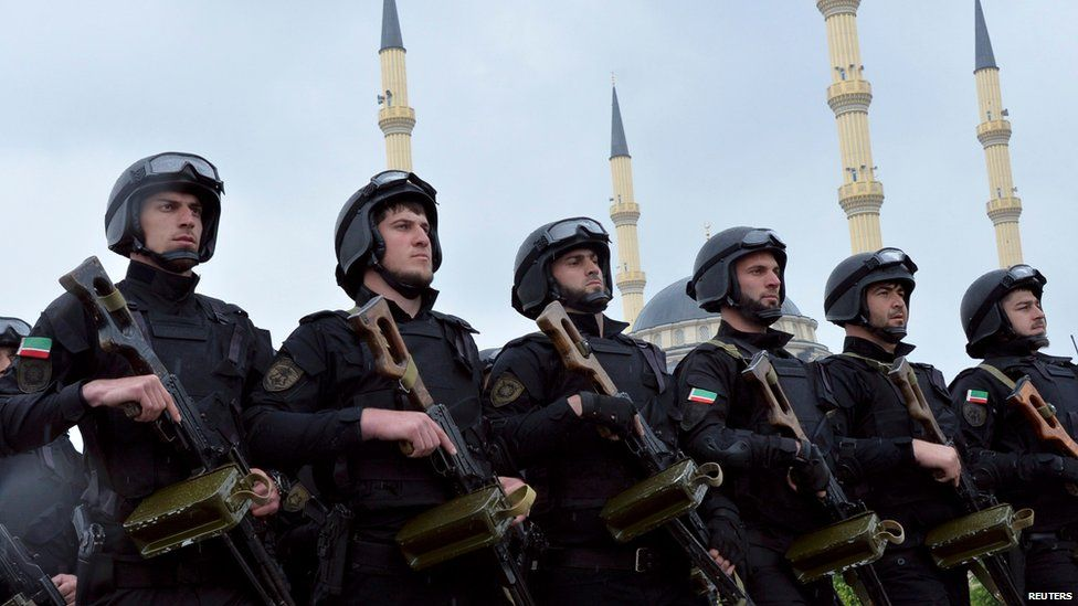 Security forces parade in Chechnya, 2015