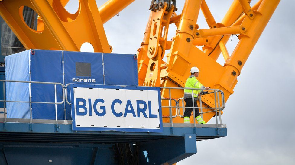 "The sign of ""Big Carl"", the world""s largest crane"