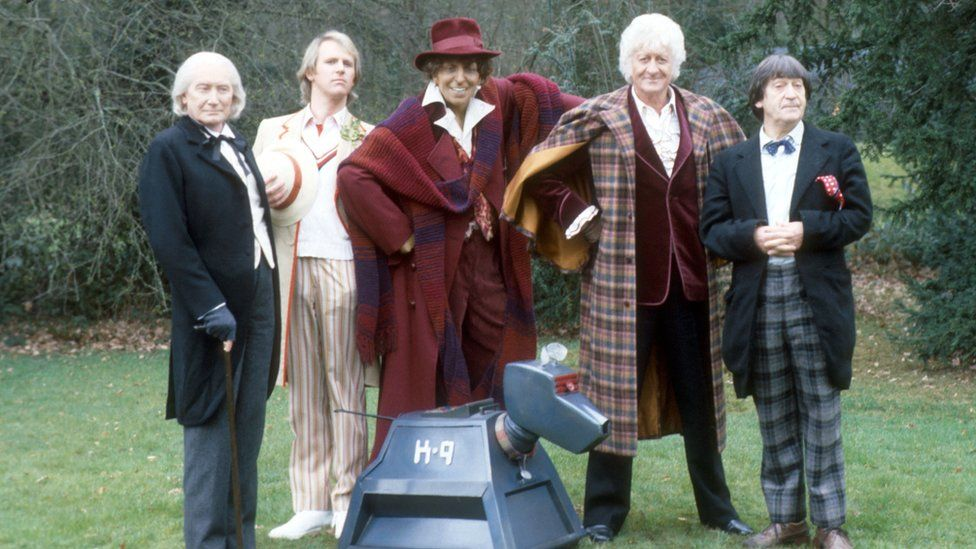 Richard Hurndall, Peter Davison, Jon Pertwee and Patrick Troughton with K-9 and a Tom Baker mannequin