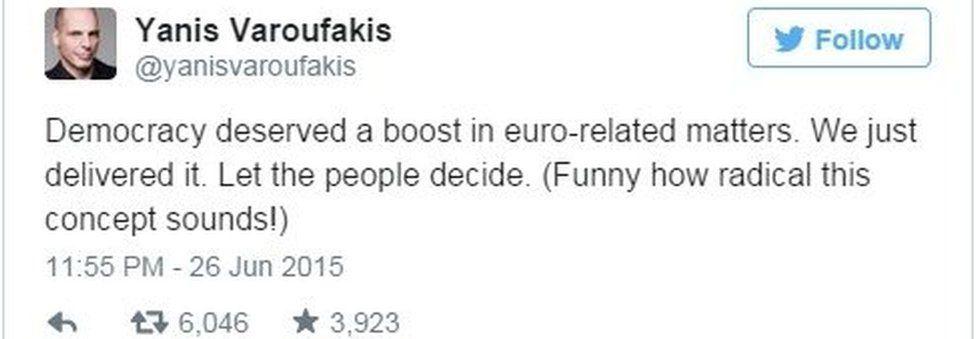 Tweet from Varoufakis