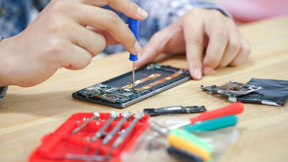 Phone being repaired