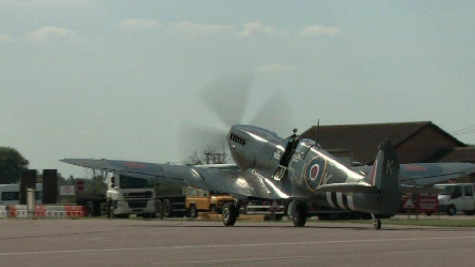 An RAF plane on a runway