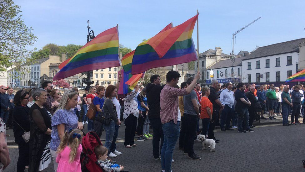 Pride flags being flown during silence in Newry