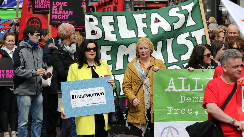 Pro choice campaigners in Belfast