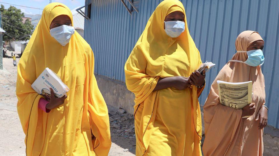 Female students in face masks in Mogadishu, Somalia - Thursday 19 March 2020