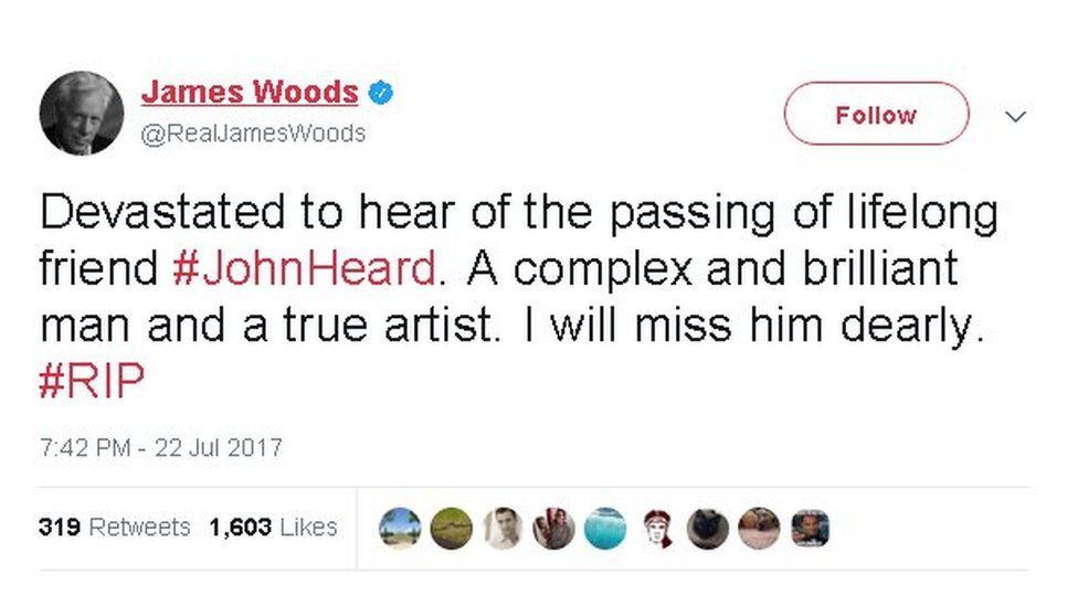 """James Woods tweet: """"Devastated to hear of the passing of lifelong friend John Heard. A complex and brilliant man and a true artist. I will miss him dearly."""""""