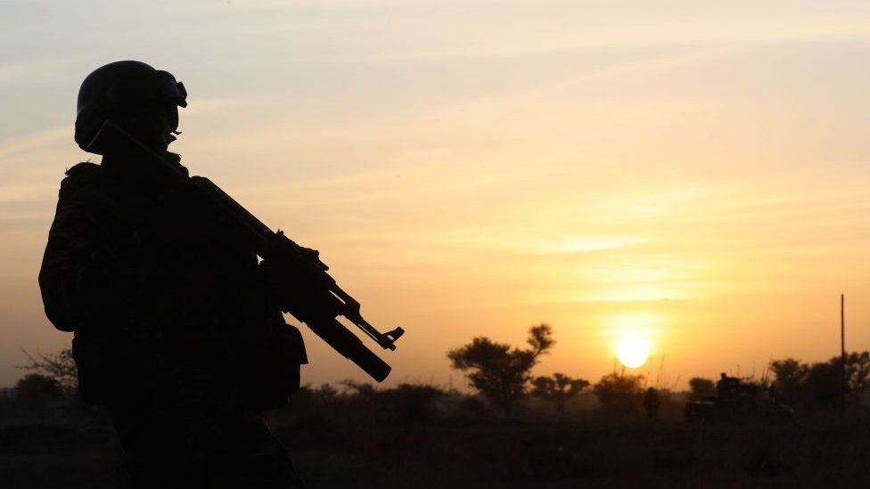 A soldier in Niger at sunset - 2019
