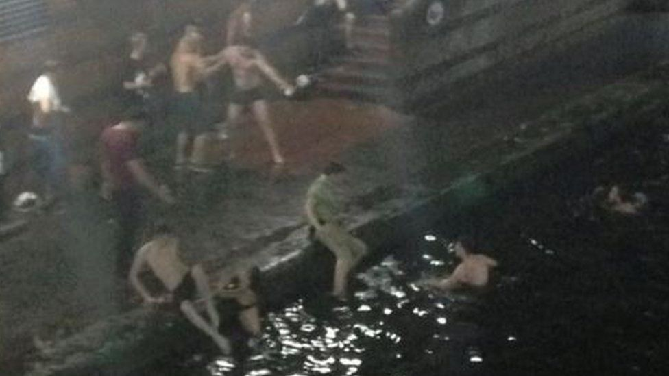 People in the canal in Birmingham