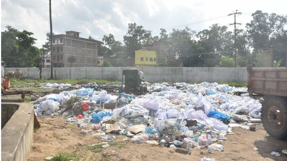 PPE kits dumped in the open at Nalanda Medical College and Hospital campus -- designated Covid-19 hospital, on July 22, 2020 in Patna, India
