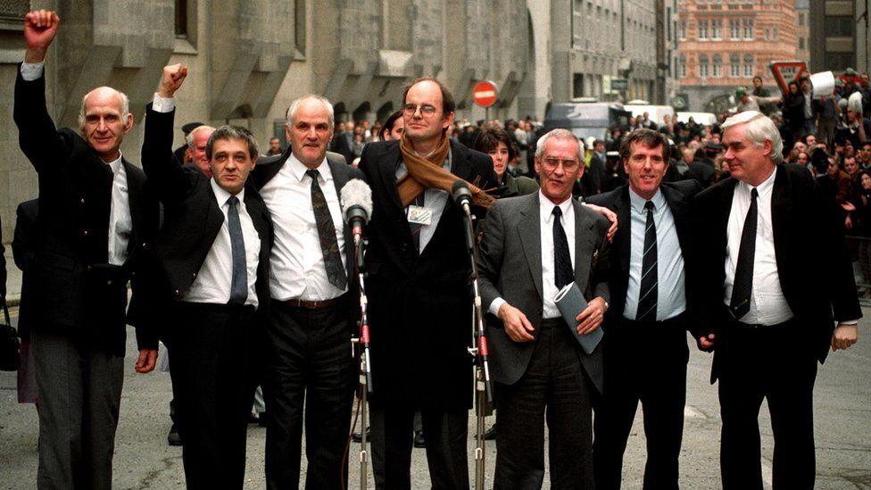 The Birmingham Six - Paddy Hill, Gerry Hunter, Johnny Walker, Hugh Callaghan, Richard McIlkenny and Billy Power