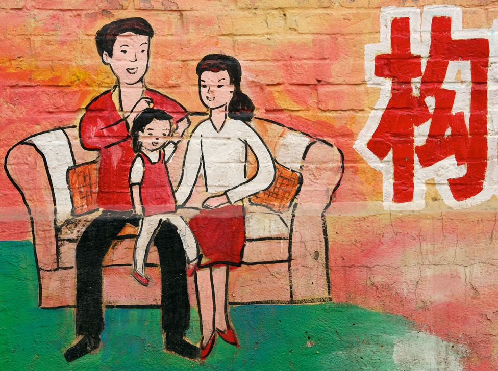 China one-child mural in Hebei Province, near Beijing