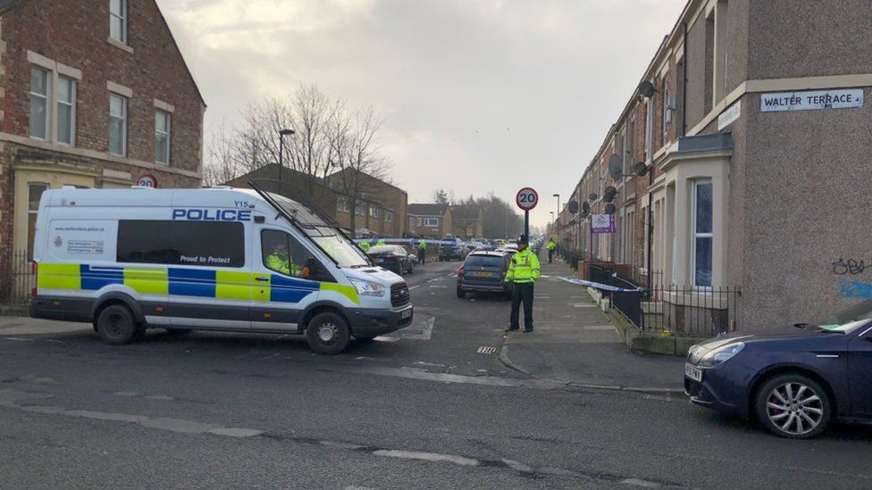 Police cars and cordon in the West End