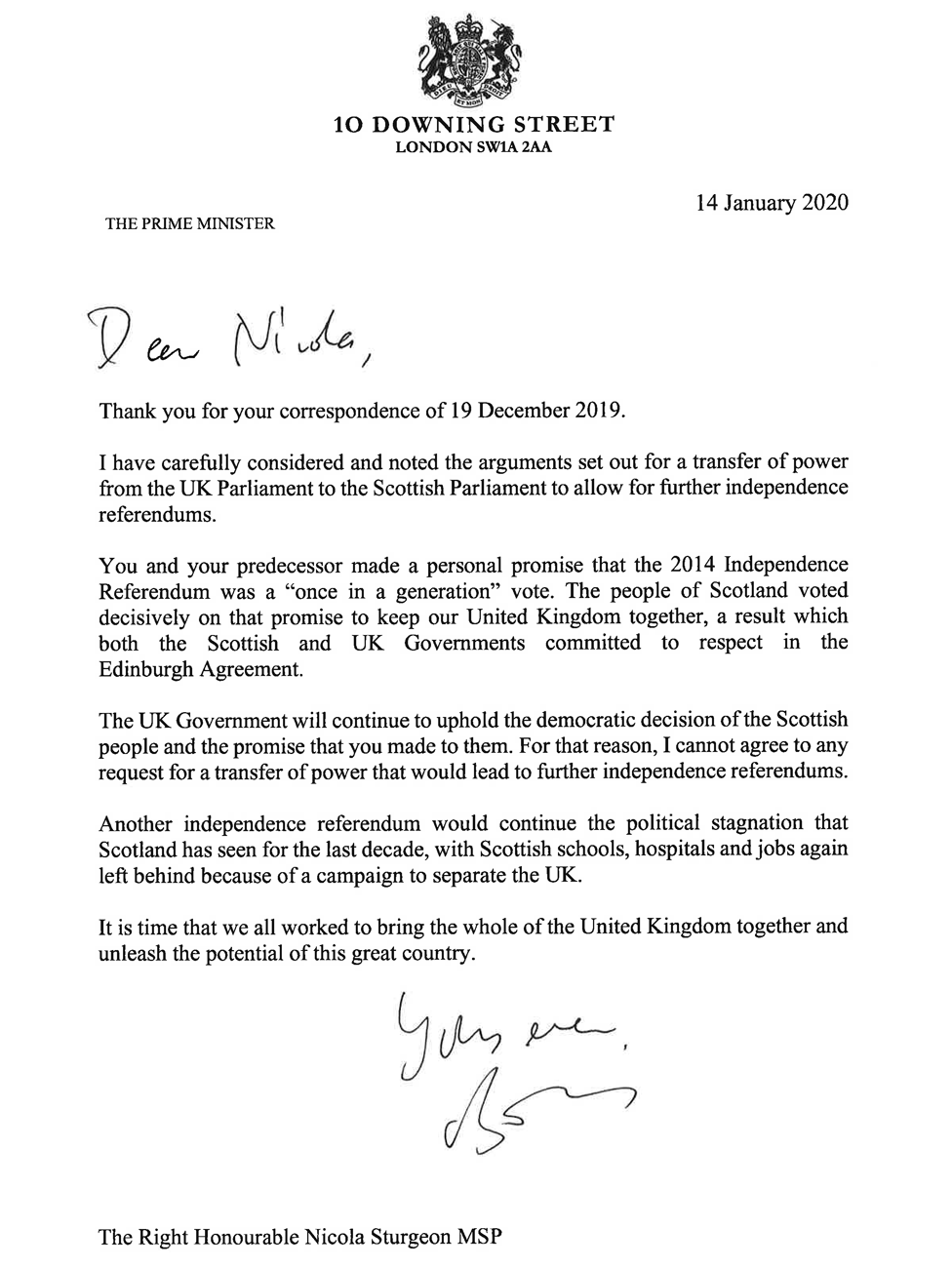 Boris Johnson's letter