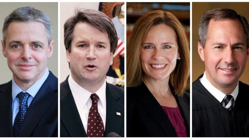 Federal appeals court judges L-R: Raymond Kethledge, Brett Kavanaugh, Amy Coney Barrett, and Thomas Hardiman, being considered for the US Supreme Court.