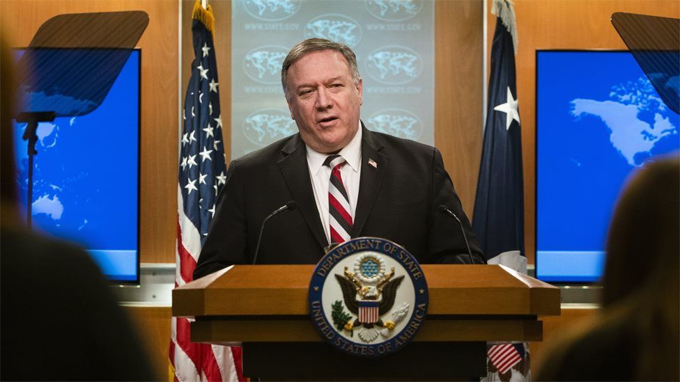 US Secretary of State Mike Pompeo speaks to reporters in Washington (17 March 2020)